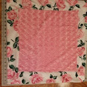 "Minky ""Lovey"" Pink Rose/ Rose Print Border/back24"" x 24"""
