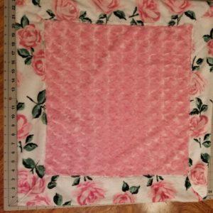 "Minky ""Lovey"" Pink Rose/ Rose Print Border/back24"" x 24"""