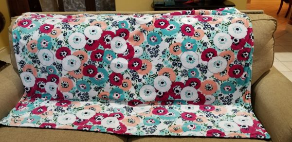 "Minky Springtime Blossums/ Black back 44"" x 44"""